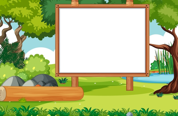 Empty banner board in nature park scenery Free Vector
