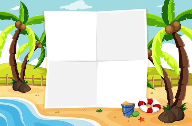 Bordo vuoto della bandiera in uno scenario di spiaggia tropicale Vettore gratuito
