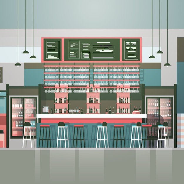 Empty bar or coffee shop interior cafe counter with bottles of alcohol and glasses on shelves Premium Vector