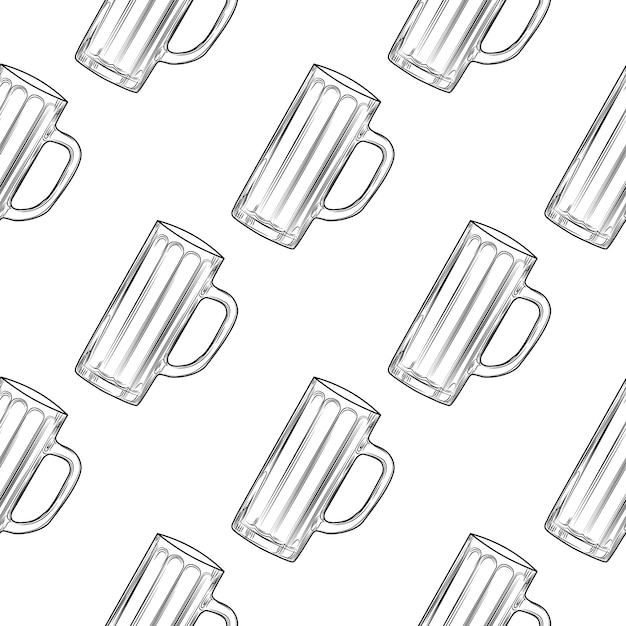 Пустая пивная кружка бесшовные модели. пивные бокалы. Premium векторы