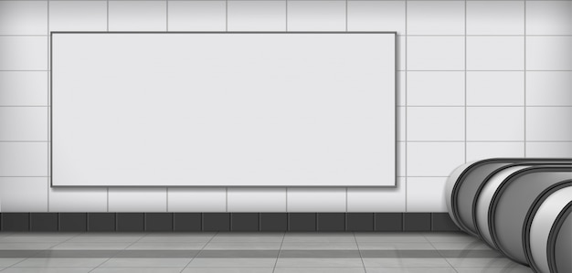 Empty billboard on subway station realistic vector Free Vector