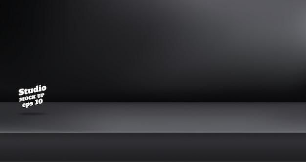 Пустой черный цвет студии стол фон Premium векторы