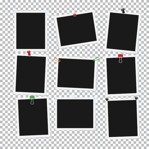 Empty black and whitel attached photos collection. Premium Vector