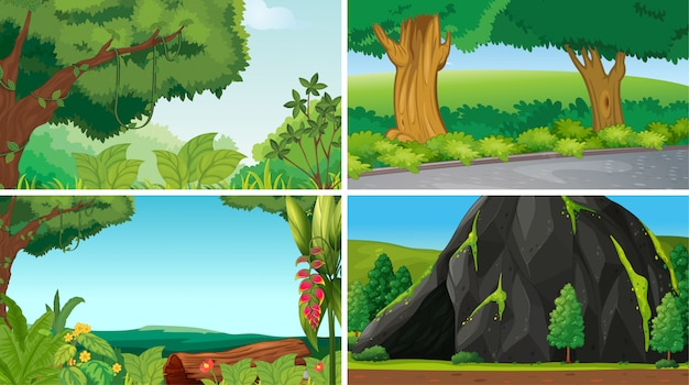 Empty, blank landscape nature scenes or background Free Vector