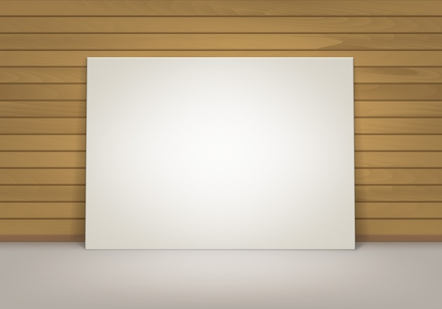 Empty blank white mock up poster picture frame standing on floor with brown sienna wooden wall front view Premium Vector