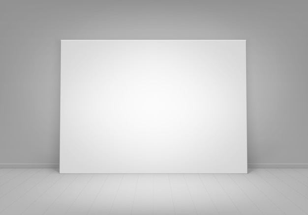 Empty blank white mock up poster picture frame standing on floor with wall front view Premium Vector