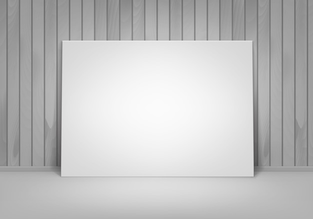Empty blank white mock up poster picture frame standing on floor with wooden wall front view Premium Vector