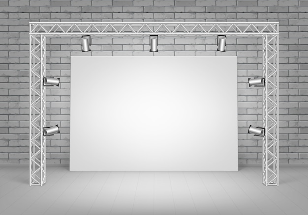 Empty blank white mock up poster picture standing on floor with gray brick wall and spotlights illumination front view Premium Vector