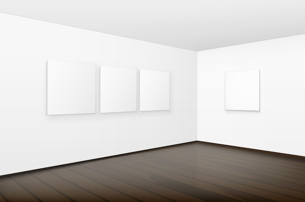 Empty blank white mock up posters pictures frames on walls with brown wooden floor in gallery Premium Vector