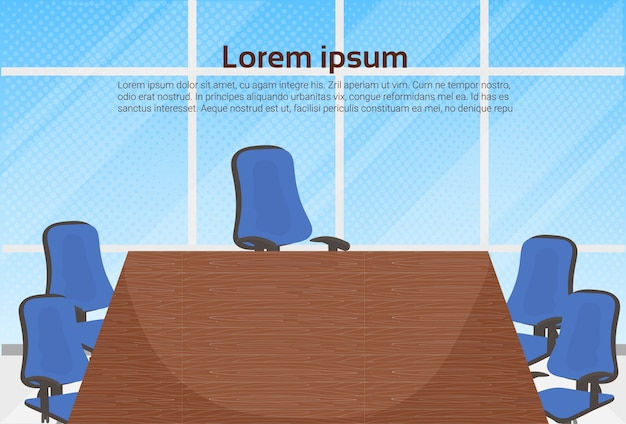 Empty board room office for business meetings template background Premium Vector
