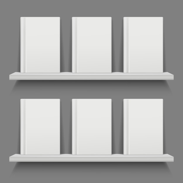 Empty book cover on shelves. Premium Vector
