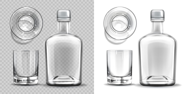 Empty bottle and shot glass side and top view set. Free Vector