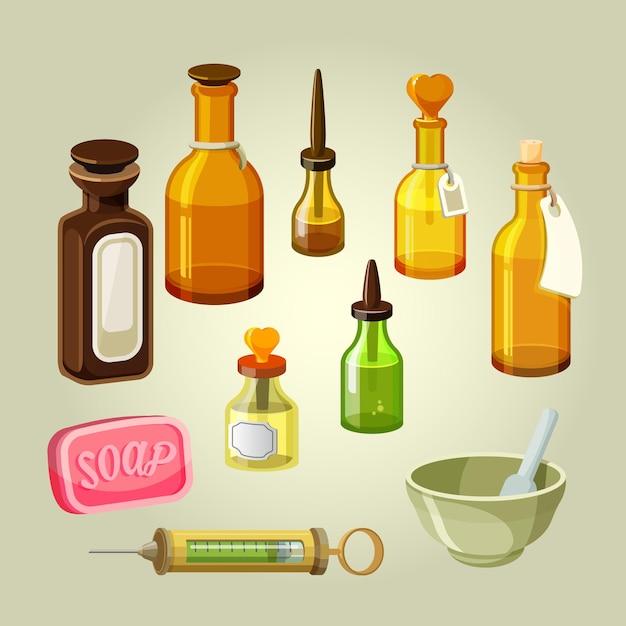 空のボトル、フラスコ、ポーション、ドロップセット。薬剤師の治療法。シャンプー、オイル、薬理学の秘薬のためのリザーバー。ドラッグストアの混合物。実験用医薬品。石鹸と注射器のイラスト Premiumベクター