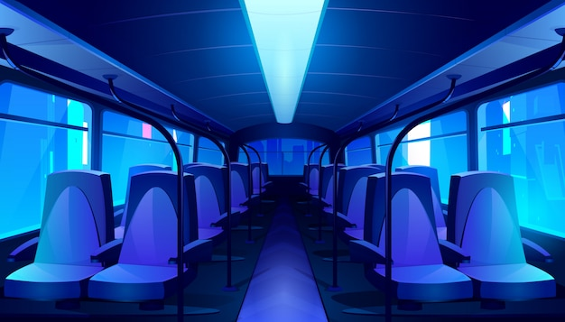 Пустой интерьер автобуса ночью Бесплатные векторы