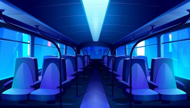 Empty bus interior at night Free Vector