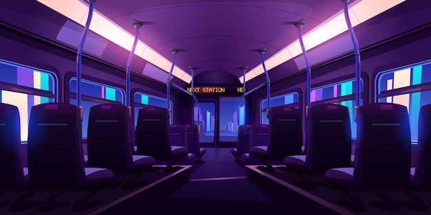 Пустой интерьер автобуса или поезда со стульями, перилами и окнами ночью. Бесплатные векторы