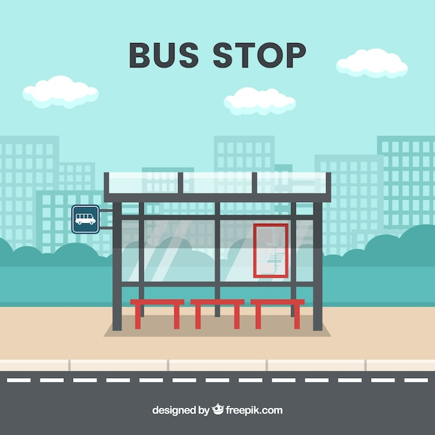 Empty bus stop with flat design Free Vector