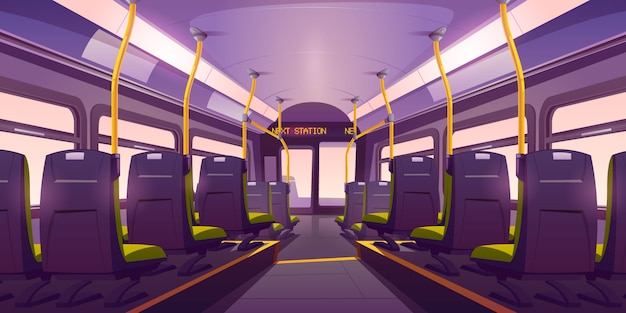 Empty bus or train interior with chairs back view Free Vector
