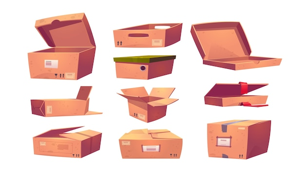 Empty cardboard boxes different shapes isolated on white Free Vector