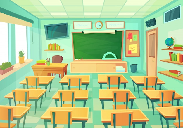 Empty cartoon classroom Premium Vector