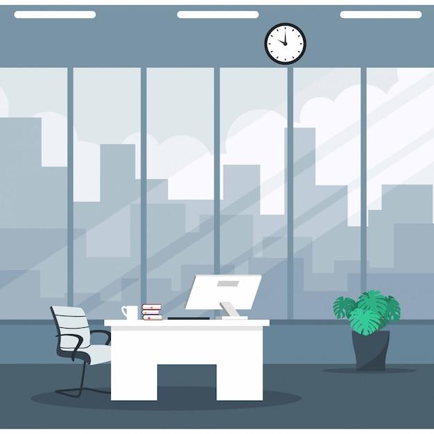 Empty ceo office interior Premium Vector