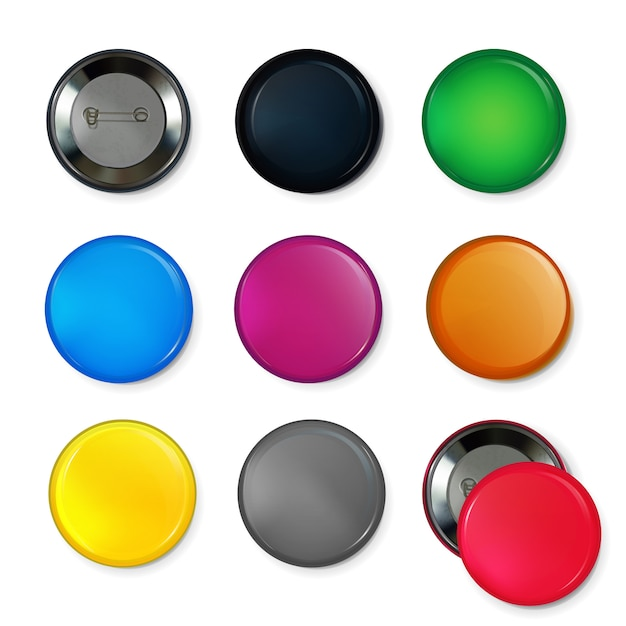 Empty circle badges or buttons at different colors. Premium Vector