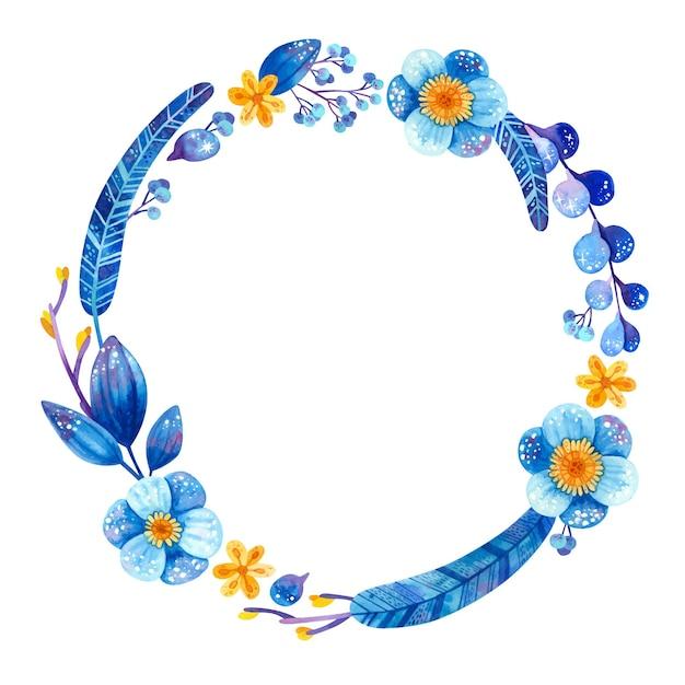 파란색과 노란색 식물을 가진 빈 원형 프레임 무료 벡터