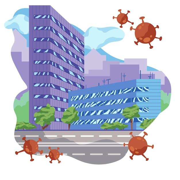 パンデミックウイルスによる空の都市 無料ベクター
