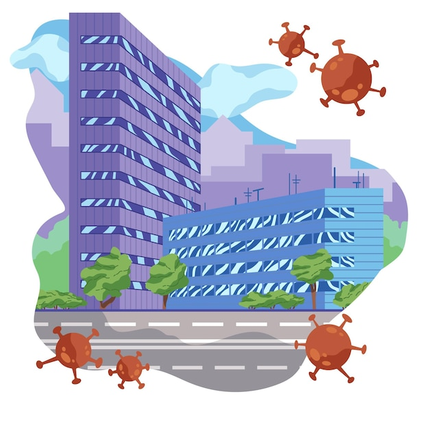Empty cities because of pandemic virus Free Vector