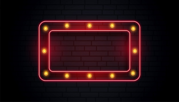 Empty classic neon sign frame Free Vector
