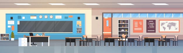 Empty classroom interior school class room with board and desks horizontal illustration Premium Vector