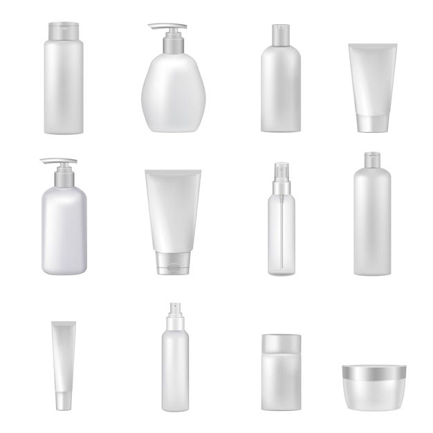 Empty clear cosmetics bottles jars tubes sprays dispensers for beauty and health products realistic Free Vector