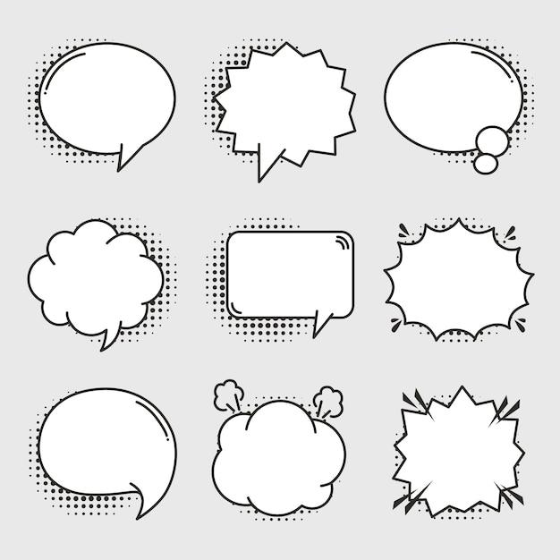 Empty comic bubbles set Premium Vector