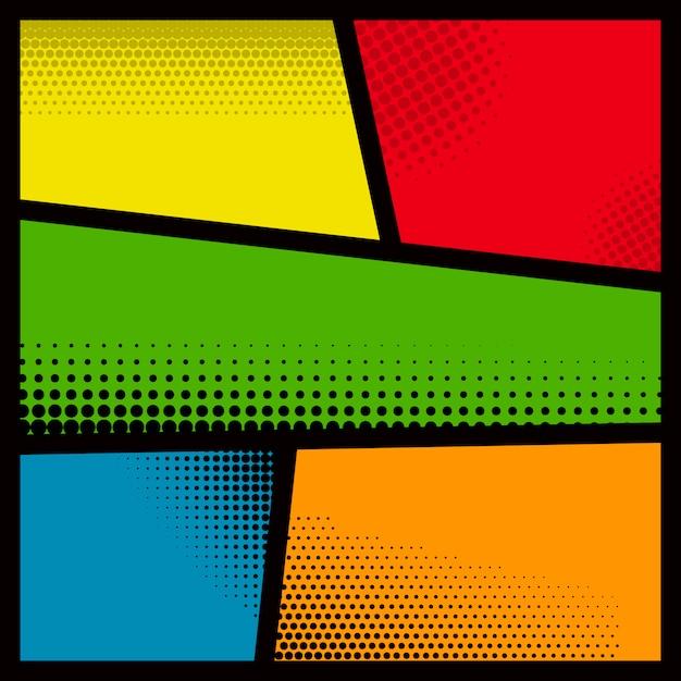 Пустой макет страницы комиксов с цветным фоном. элемент для плаката, открытки, печати, баннера, флаера. образ Premium векторы