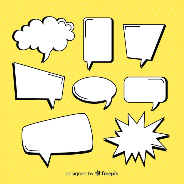 Empty comic speech bubble collection Free Vector