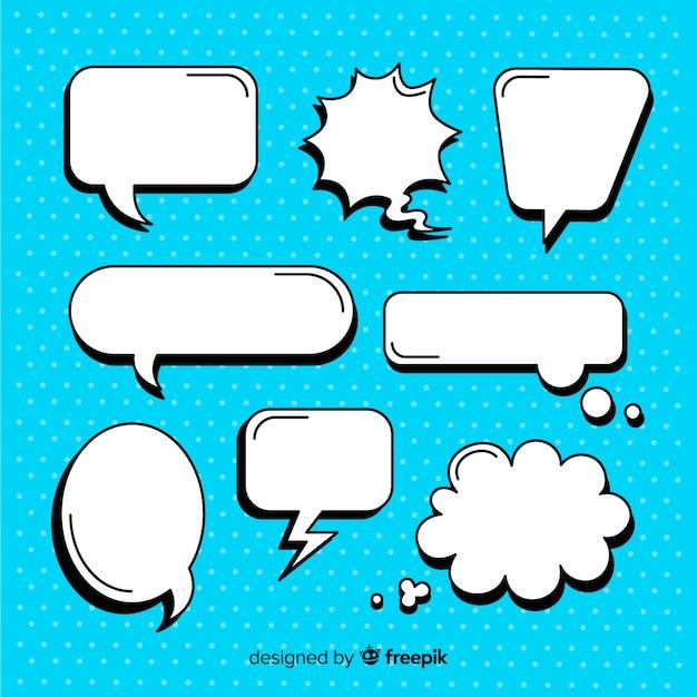 Empty comic speech bubble set Free Vector
