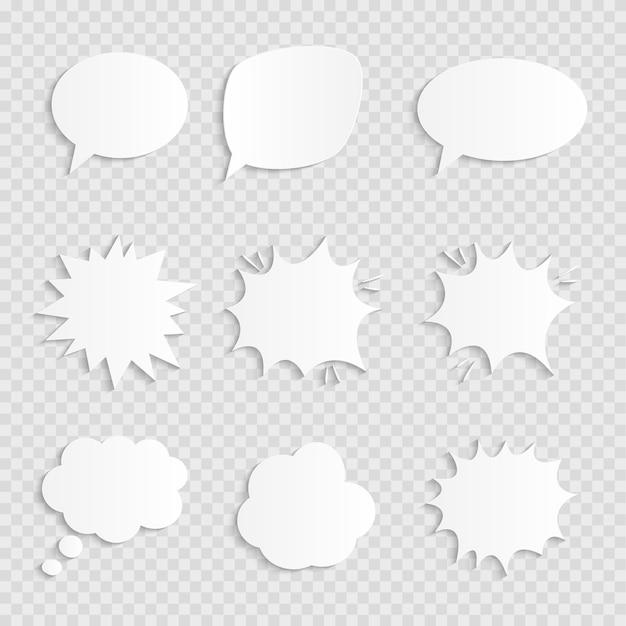 Empty comic  speech bubbles set with shadows.  illustration Premium Vector