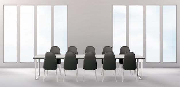 비즈니스를 위해 긴 책상과 의자가있는 빈 회의실 무료 벡터