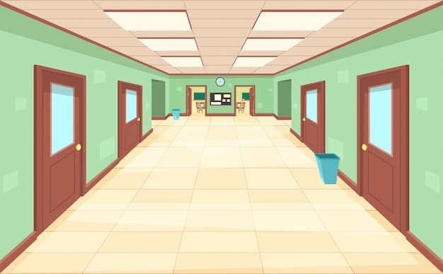 Пустой коридор с закрытыми и открытыми дверями Premium векторы