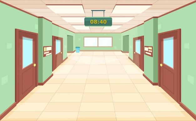 Пустой коридор с закрытыми дверями и окнами. Premium векторы