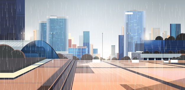 Empty downtown rain drops falling on city street without people and cars rainy summer day Premium Vector