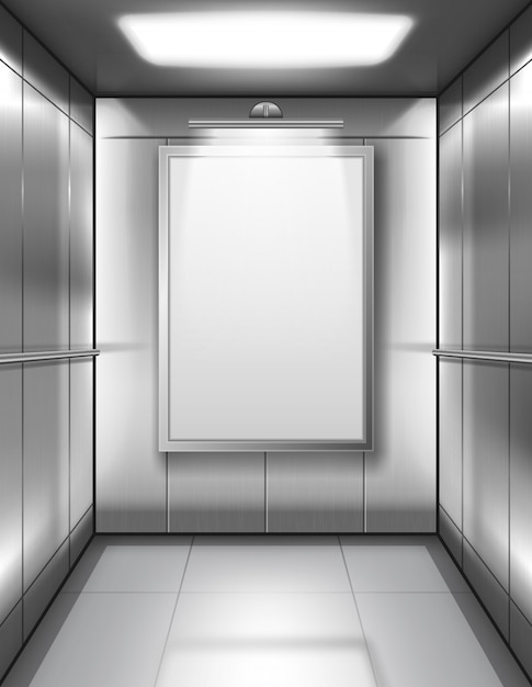 空白のポスターと空のエレベーターキャビン 無料ベクター