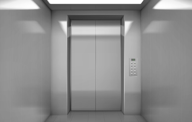 Empty elevator cabin with closed steel doors Free Vector