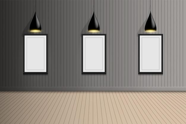 Пустая комната фотогалереи выставки с потолочной лампочкой, дизайн интерьера Premium векторы