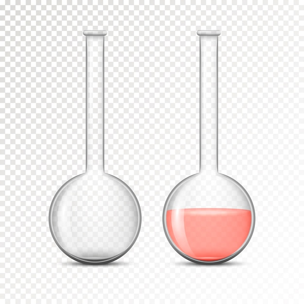 Empty and filled flask for chemical lab Premium Vector