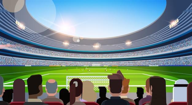 Empty football stadium field silhouettes of fans waiting match rear view flat horizontal Premium Vector
