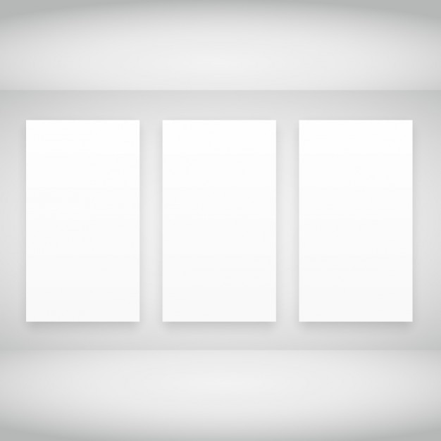 empty frames in white room free vector