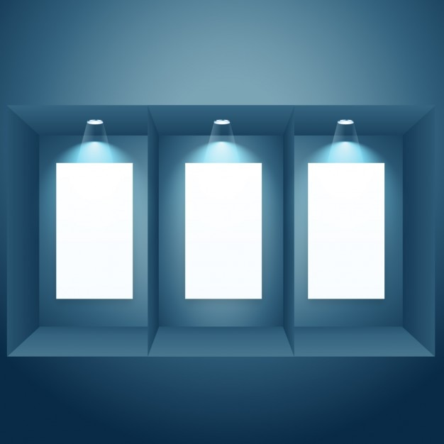 empty frames with spotlights free vector