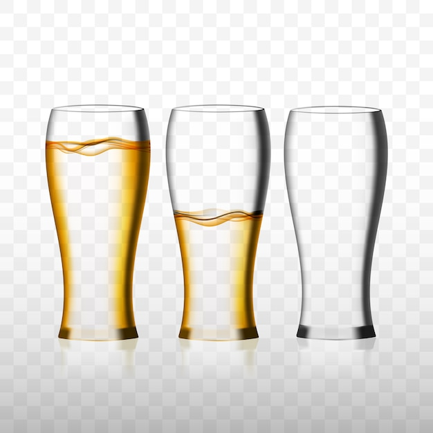 Empty and full beer glasses Premium Vector