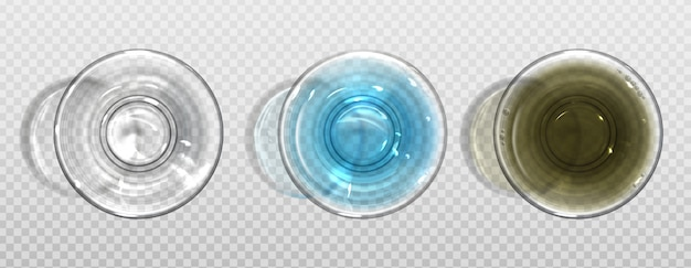 Empty and full of pure and dirty water glasses Free Vector